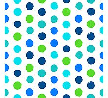 Polka dot print in blue green colors Photographic Print