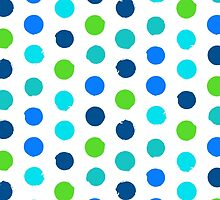 Polka dot print in blue green colors by tukkki