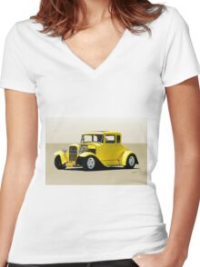 1930 Ford Model A Coupe Women's Fitted V-Neck T-Shirt