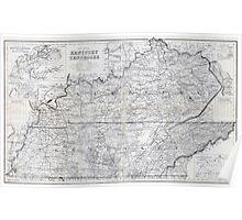 ca. 1870 Kentucky & Tennessee Map Poster