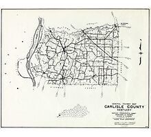 Carlisle County, Kentucky Map Photographic Print