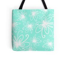 Doodle Flower in White with Blue Background Tote Bag