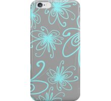 Doodle Flower in Pastel Blue with Grey Background iPhone Case/Skin