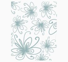 Doodle Flower in Pastel Blue with Grey Background Kids Tee