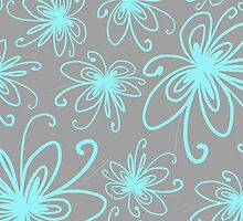 Doodle Flower in Pastel Blue with Grey Background by MyArt23