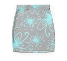 Doodle Flower in Pastel Blue with Grey Background Mini Skirt