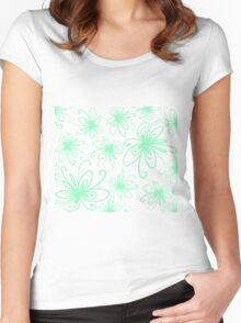 Doodle Flower in Pastel Green with Black Background Women's Fitted Scoop T-Shirt
