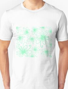 Doodle Flower in Pastel Green with Black Background Unisex T-Shirt