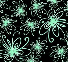 Doodle Flower in Pastel Green with Black Background by MyArt23