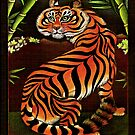 Startled Tiger in Bamboo by JacquelynsArt