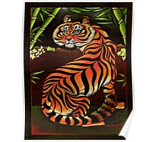 Startled Tiger in Bamboo Poster