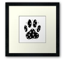 White Paws All Over Black Paw Print Framed Print