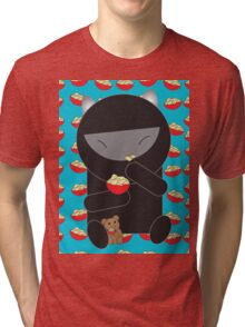 Ninja Kitty Eating Noodles Tri-blend T-Shirt