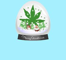 Merry Christmas Marijuana Snow Globe Women's Fitted Scoop T-Shirt
