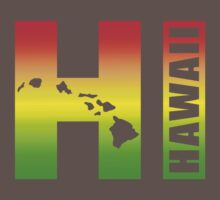 Big Hawaii HI - Rasta Surfer Colors by robotface