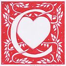 Red Heart Letter C by Donna Huntriss
