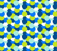 Bold geometric pattern with blue green circles by tukkki