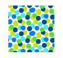 Polka dot print in blue green random colors Art Print