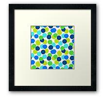 Polka dot print in blue green random colors Framed Print