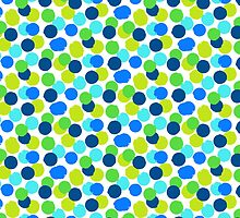 Polka dot print in blue green random colors by tukkki