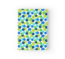 Polka dot print in blue green random colors Hardcover Journal