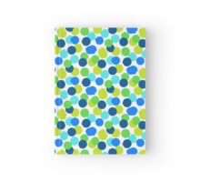 Polka dot print in blue green random colors Hardcover Journal
