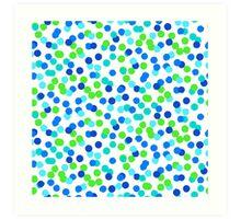 Small polka dot print in blue green colos Art Print