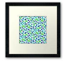 Small polka dot print in blue green colos Framed Print