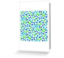 Small polka dot print in blue green colos Greeting Card