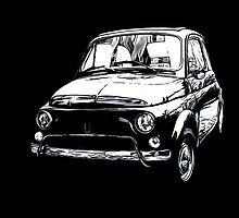 Fiat 500 Pop Art White on Black by Edward Fielding