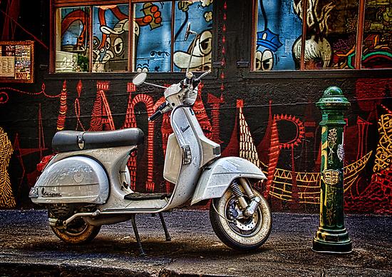 Back Street Vespa by Janet Rogerson