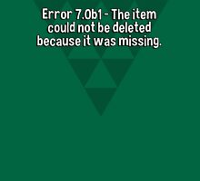 Error 7.0b1 - The item could not be deleted because it was missing. T-Shirt