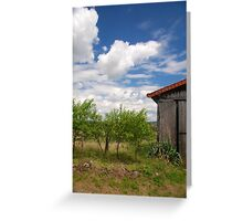 farm, burgundy Greeting Card