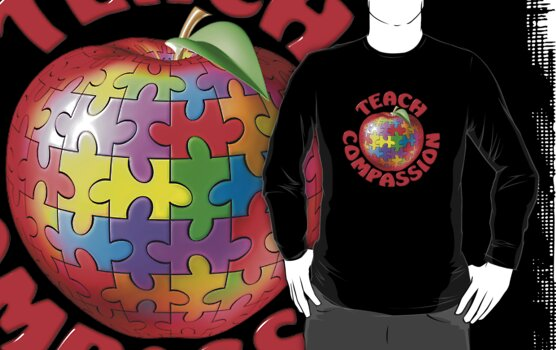 Teach Compassion Autism Awareness Puzzle Apple by bmgdesigns