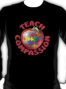 Teach Compassion Autism Awareness Puzzle Apple T-Shirt