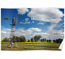 SPRING CANOLA AND WINDMILL. Poster
