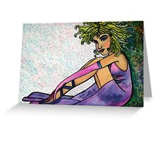 Illustration of girl sitting. Greeting Card