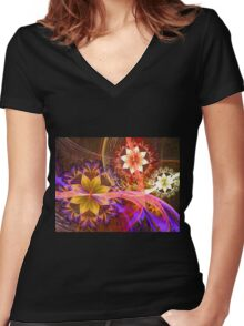Out Among the Flowers Women's Fitted V-Neck T-Shirt