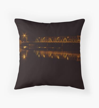 Yarrawonga Mulwala Bridge by Night Throw Pillow