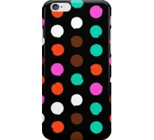 Colorful polka dots on black iPhone Case/Skin