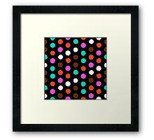 Colorful polka dots on black Framed Print