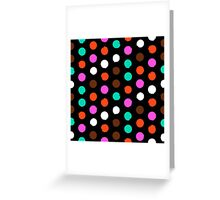 Colorful polka dots on black Greeting Card