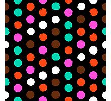 Colorful polka dots on black Photographic Print
