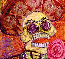 El Mariachi Calavera Singing with Rose in Hand by Candace Byington