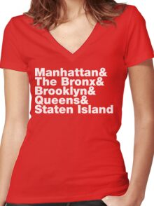 Five Boroughs ~ New York City Women's Fitted V-Neck T-Shirt