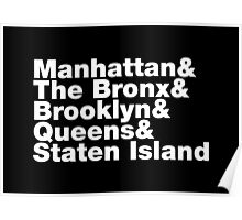 Five Boroughs ~ New York City Poster