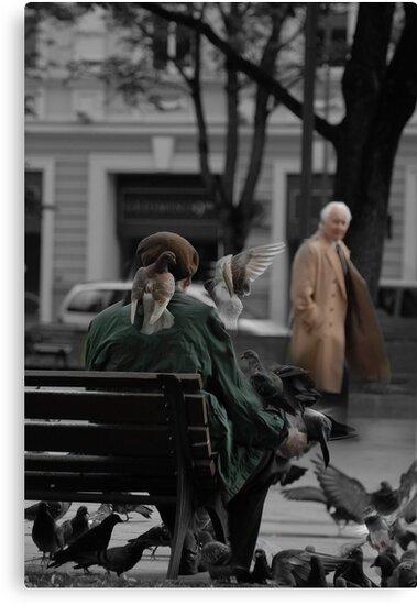 2010 09 04 Vilnius 3, Pigeon man by Antanas