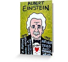 Albert Einstein Pop Folk Art Greeting Card