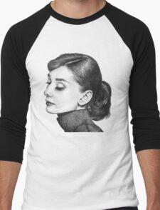 Audrey Hepburn Stippling Portrait Men's Baseball ¾ T-Shirt