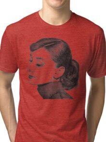 Audrey Hepburn Stippling Portrait Tri-blend T-Shirt